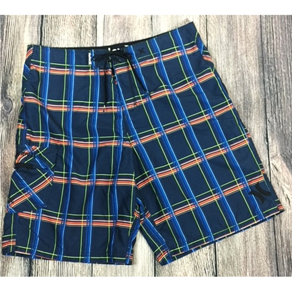 f7d2db10f1 Hurley Other - Hurley Men's Blue & Orange Plaid Board Shorts 36